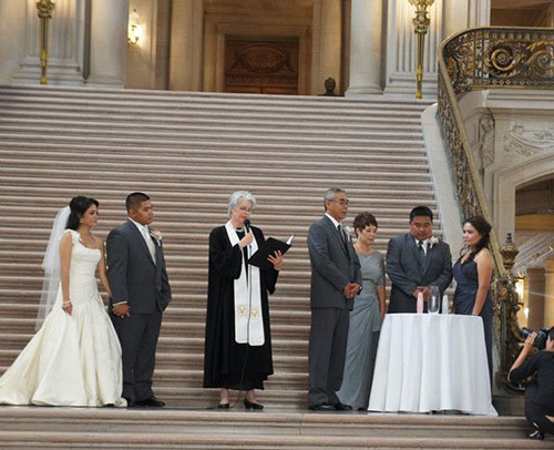 Blending of the Families ritual during a wedding ceremony at San Francisco City Hall